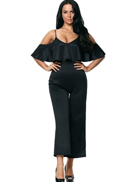 V-Neck Spaghetti Strap Black Wide Leg Women's Jumpsuits