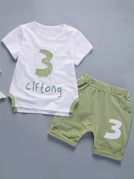Ericdress Letter Print T-Shirt Shorts Casual Little Boys Outfit