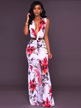 Ericdress Front-Slit Floral Sleeveless Bodycon Dress