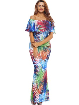 Ericdress Bohemian Print Slash Neck Close-Fitting Maxi Dress