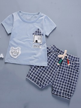 Ericdress Appliques T-Shirt Plaid Shorts Boys Outfit