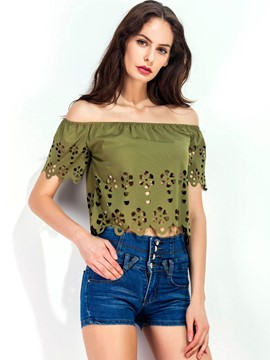 Ericdress Off-Shoulder Hollow Blouse
