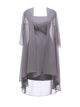 Ericdress Chiffon Knee Length Plus Size Mother of the Bride Dress with  Jacket 4cc449d9da8d