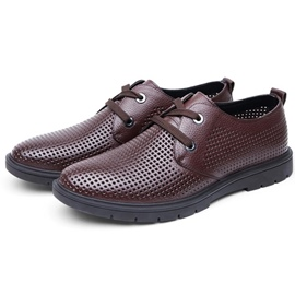 Ericdress Leather Lace-Up Hollow Men's Shoes