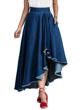 Ericdress High-Waist Asymmetrical Denim Ankle-Length Women's Skirt