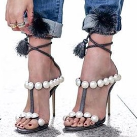 Ericdress Tassel Beads Stiletto Heel Sandals