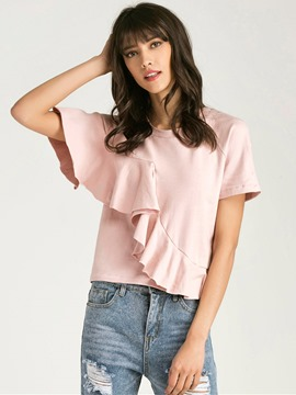 Ericdress Ruffled Stylish Pink T-Shirt
