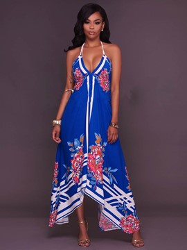 Ericdress Halter Print Asymmetrical Maxi Dress