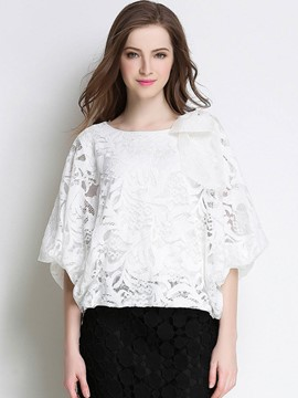 Ericdress Lace Crochet Bow Tie Blouse