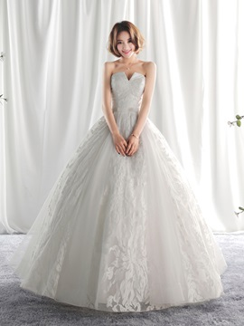 Ericdress Lace Tulle Strapless Ball Gown Long Wedding Dress