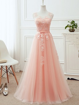 Ericdress A-Line Mesh Tulle Applique Sleeveless Bridesmaid Dress