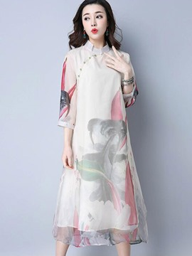 Ericdress Stand Collar Simple Print 3/4 Length Sleeves Casual Dress