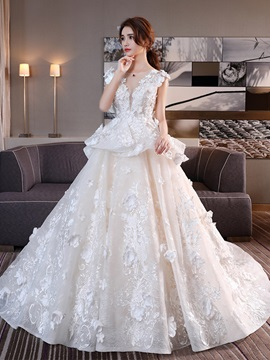 Ericdress Luxury 3D-Floral Beading Lace Applique Wedding Dress