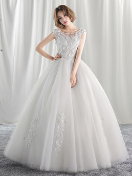 Ericdress Gorgeous Tulle Floral Applique Ball Gown Wedding Dress