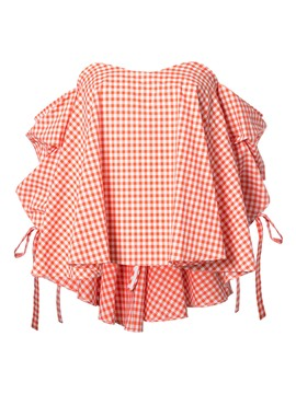 Ericdress Slash Neck Lace-Up Plaid Blouse