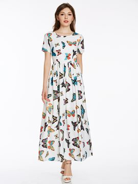 Ericdress Butterfly Print Expansion Short Sleeve Maxi Dress