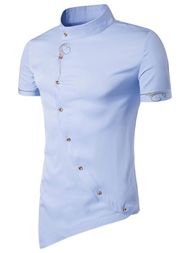 Ericdress Iregular Short Sleeve Stand Collar Men's Shirt