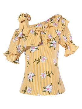 Ericdress Stripe Flower Print Falbala Patchwork Blouse