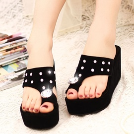 Ericdress Korean Rhinestone Thong Flat Sandals