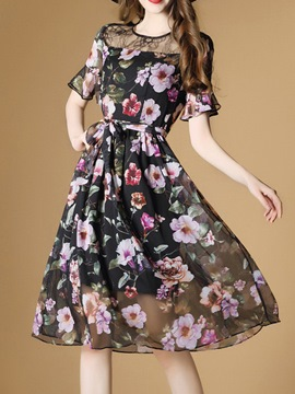 Ericdress Floral Print Ruffle Sleeve See-Through Casual Dress