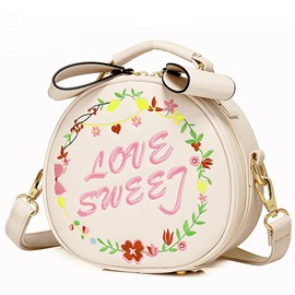 Ericdress Sweet Letter Embroidery Crossbody Bag