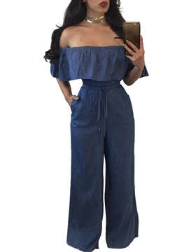 Ericdress Boat Neck Ruffles Denim Jumpsuits Pants