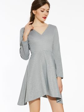ericdress solid Kragen stylelines asymmetrische casual dress