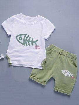 Ericdress Fishbone-Print T-Shirt Shorts Cotton Toddler Boys Outfit