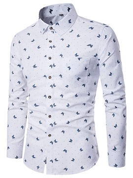 Ericdress Pocket Patched Print Long Sleeve Men's Shirt