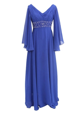 Ericdress V-Neck Plus Size Mother of the Bride Dress with Sleeves