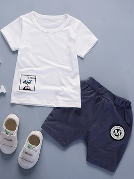 Ericdress Multple Color Print T-Shirt Shorts Cotton Little Boys Outfit