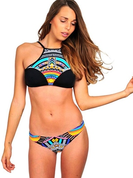 Ericdress Ethnic High-Neck Bikini Top & Bottoms