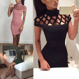Ericdress Solid Color Hollow Sexy Bodycon Dress