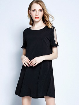 Ericdress Plain Scoop Short Sleeve Little Black Dress