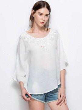 Ericdress Lace Panel Batwing Sleeve Chiffon Blouse