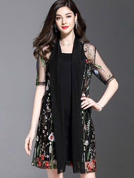 Ericdress Perspective Flower Print Half Sleeve Women's Dress Suit