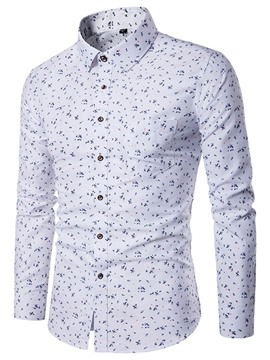 Ericdress Floral Print Pocket Patched Slim Men's Shirt