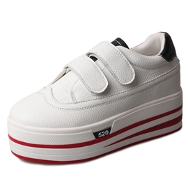 Ericdress PU Plain Velcro Decorated White Shoes