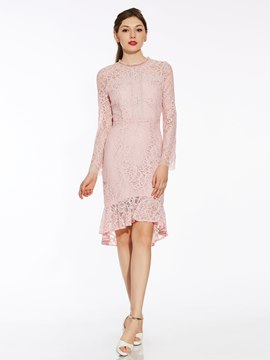 Ericdress Round Neck Mid-Calf Mermaid Lace Dress