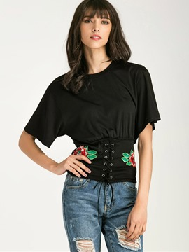 Ericdress Lace-Up Embroidery T-Shirt