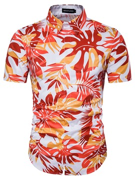 Ericdress Leaf Print Short Sleeve Casual Men's Shirt