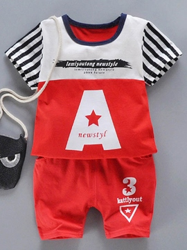 Ericdress Stripe T-Shirt Red Shorts Toddler Boys Outifit