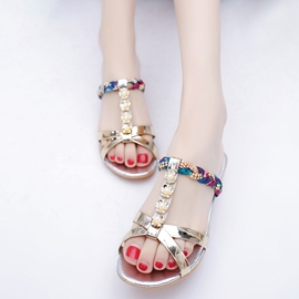 Ericdress Rhinestone Decorated Flat Sandals