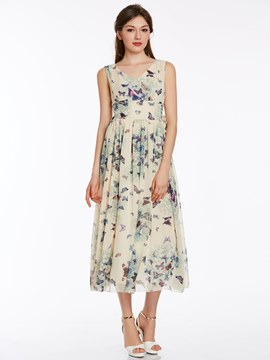 Ericdress Refreshing Printed Maxi Dress