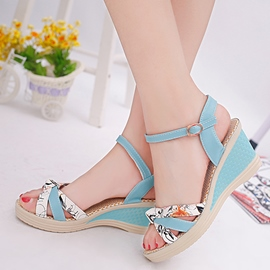 Ericdress All Match Patchwork Wedge Sandals