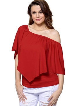 Ericdress Off-Shoulder Ruffled Casual Blouse