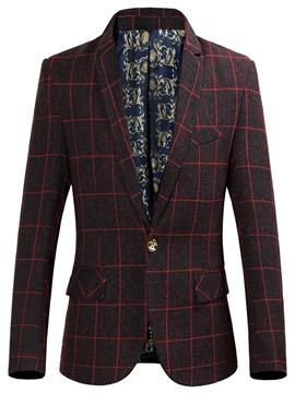 Ericdress One Button Plaid Pocket Casual Men's Blazer