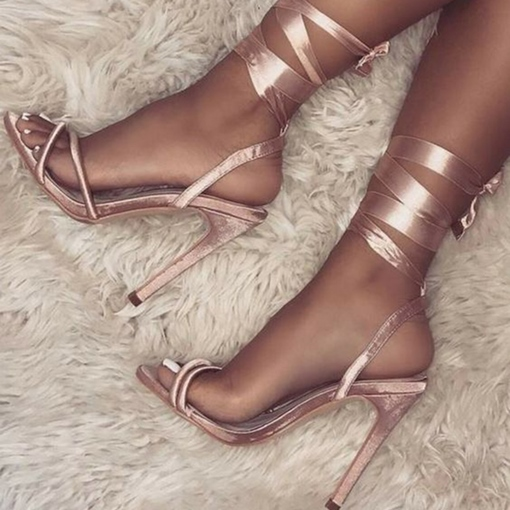Ericdress Open Toe Lace-Up Stiletto Heel Sandals
