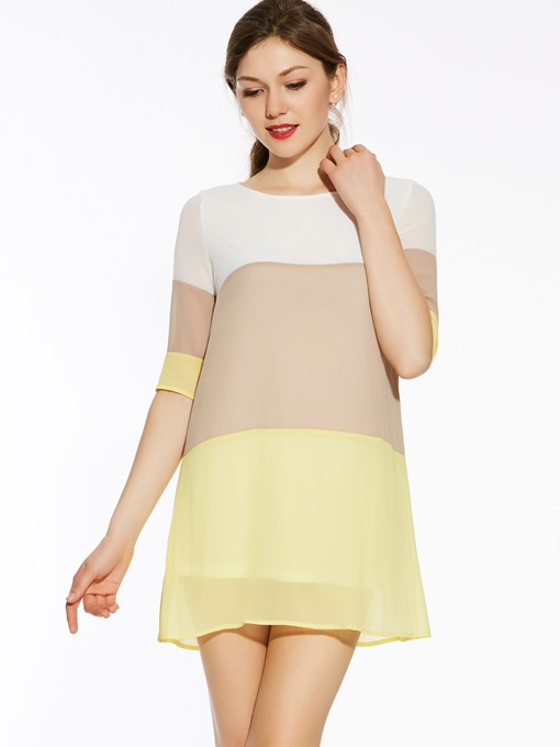 Ericdress Color Block Casual Dress