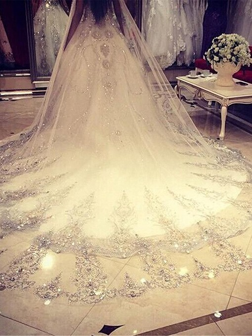 Ericdress 1T Luxury Beading Diamond Cathedral Wedding Veil